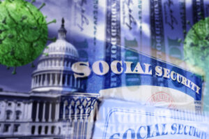 Social Security cards with US capitol, money and Coronavirus images