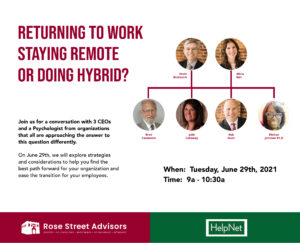 Returning to Work, Hybrid, Remote